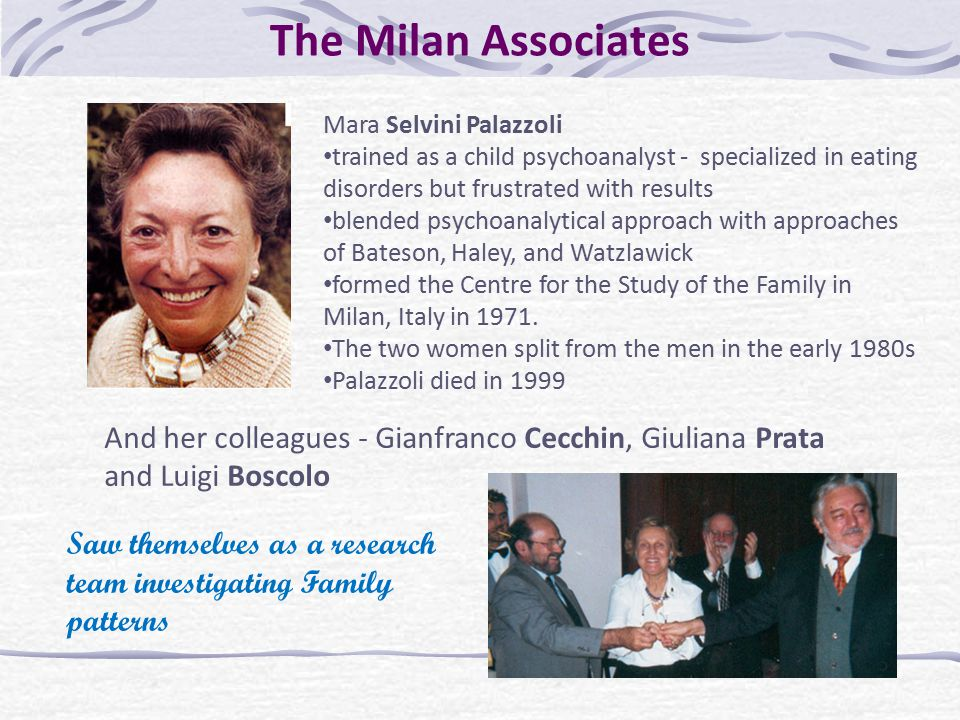 The Milan Associates Mara Selvini Palazzoli. trained as a child psychoanalyst - specialized in eating disorders but frustrated with results.