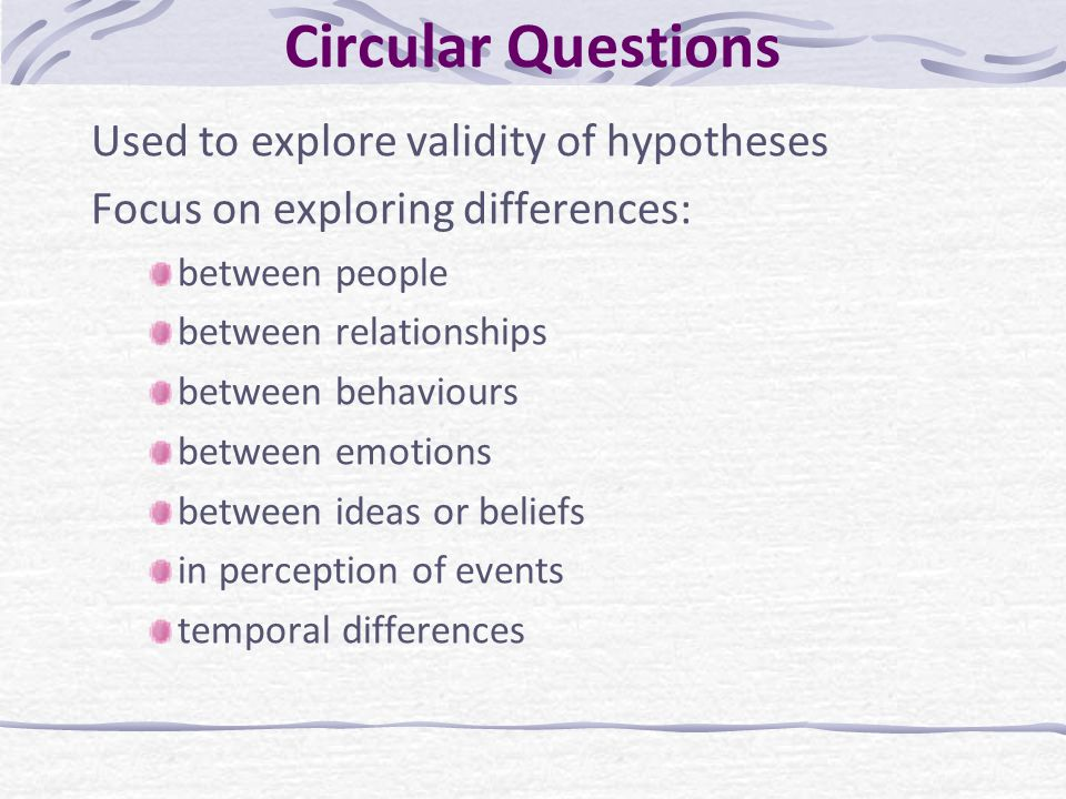 Circular Questions Used to explore validity of hypotheses