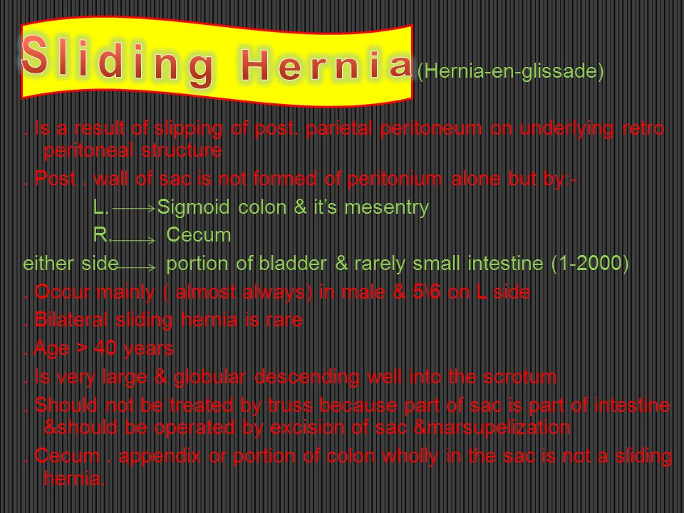 (Hernia-en-glissade). Is a result of slipping of post