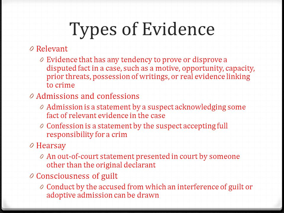 Types of Evidence Relevant Admissions and confessions Hearsay