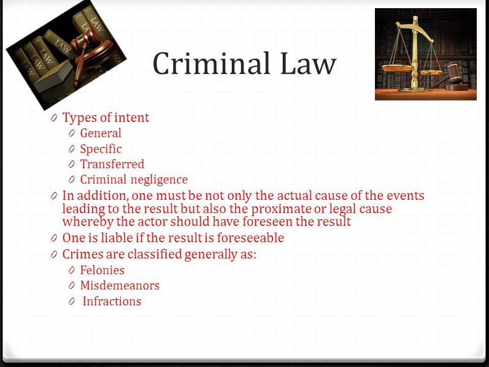 Criminal Law Types of intent