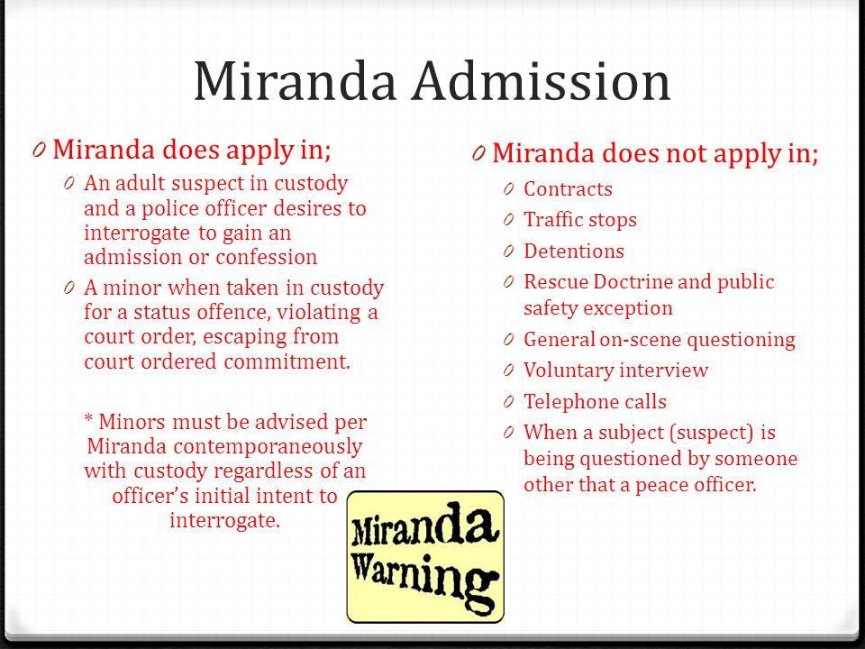Miranda Admission Miranda does apply in; Miranda does not apply in;