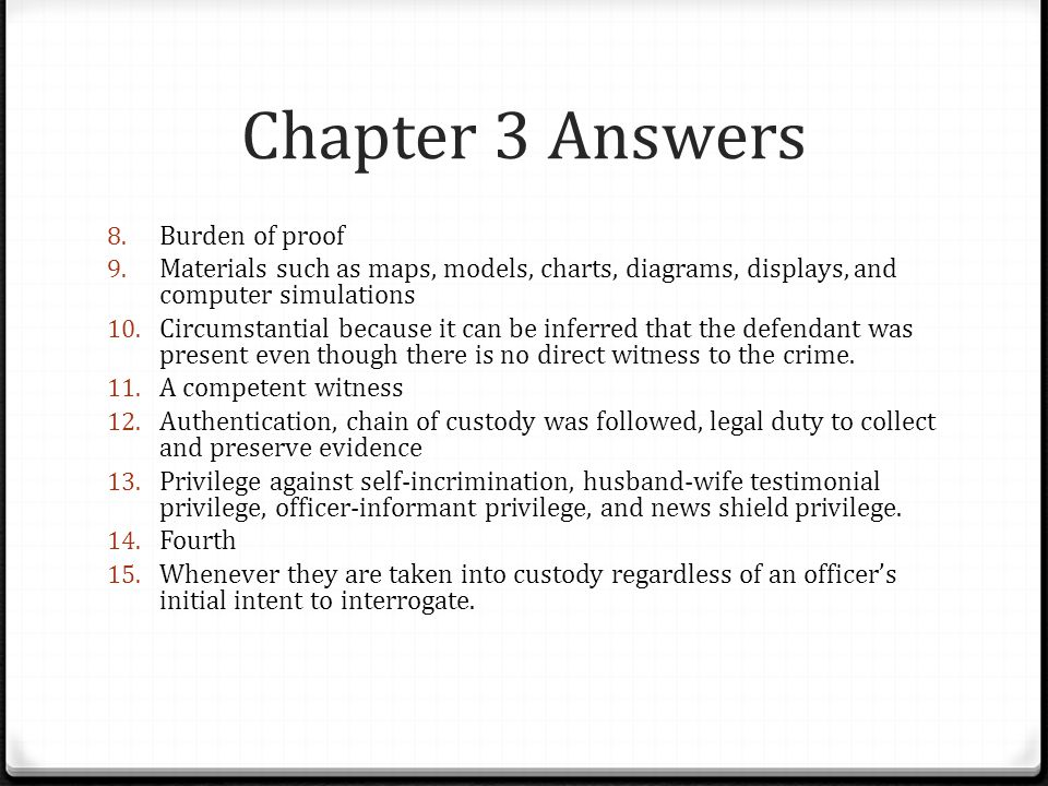 Chapter 3 Answers Burden of proof