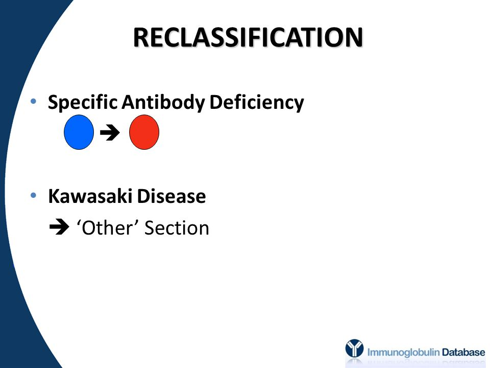 RECLASSIFICATION Specific Antibody Deficiency  Kawasaki Disease
