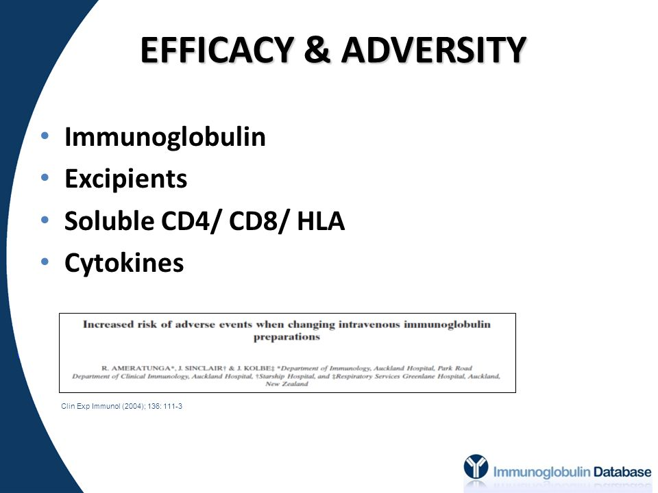 EFFICACY & ADVERSITY Immunoglobulin Excipients Soluble CD4/ CD8/ HLA