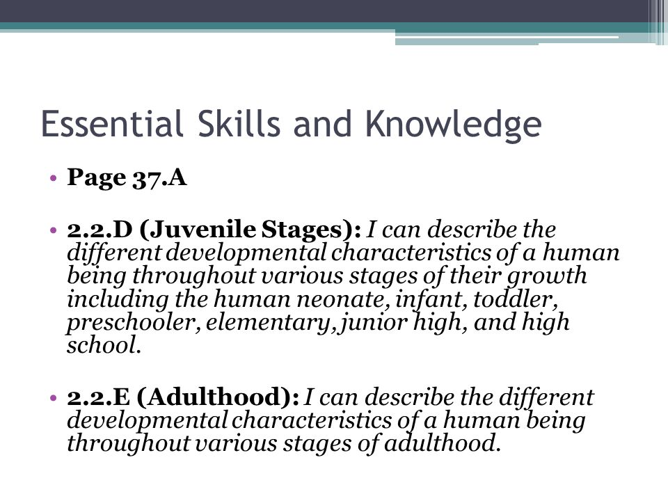 Essential Skills and Knowledge