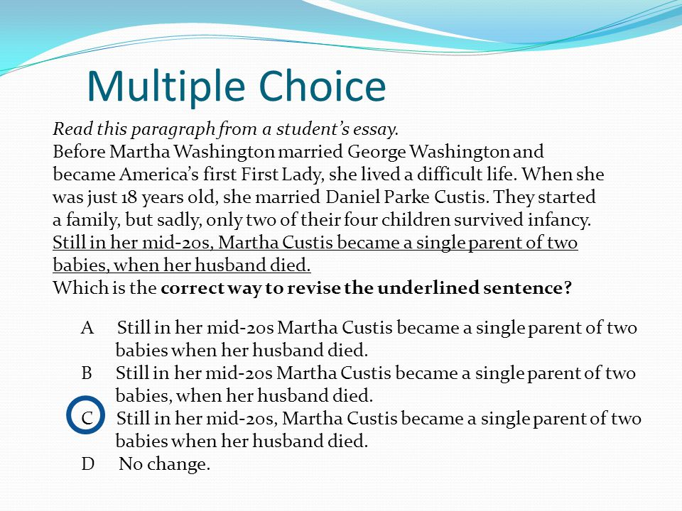 end of course testing ppt multiple choice this paragraph from a student s essay