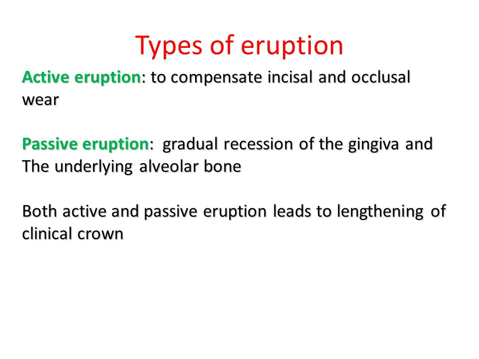 Types of eruption Active eruption: to compensate incisal and occlusal wear. Passive eruption: gradual recession of the gingiva and.