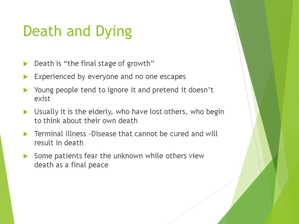 Death and Dying Death is the final stage of growth