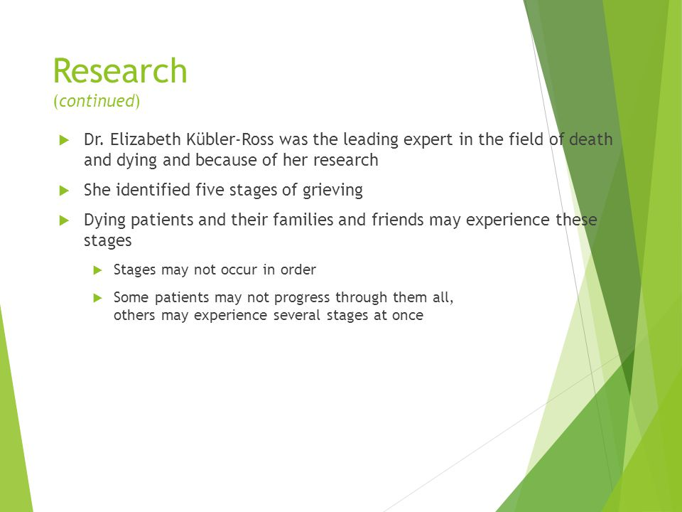 Research (continued) Dr. Elizabeth Kübler-Ross was the leading expert in the field of death and dying and because of her research.