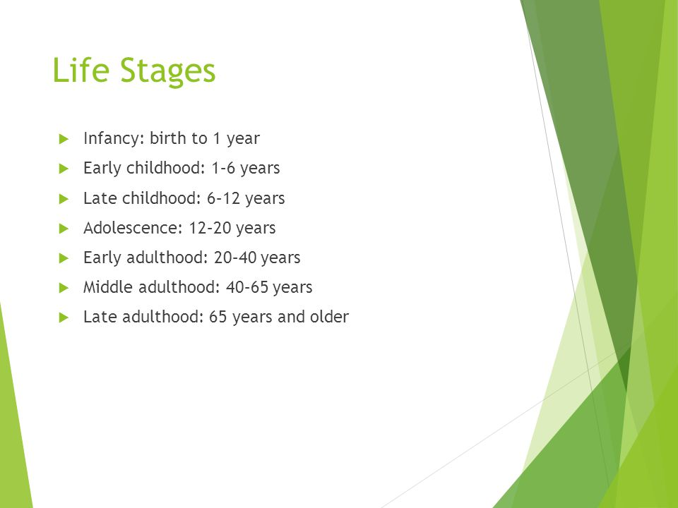 Life Stages Infancy: birth to 1 year Early childhood: 1–6 years