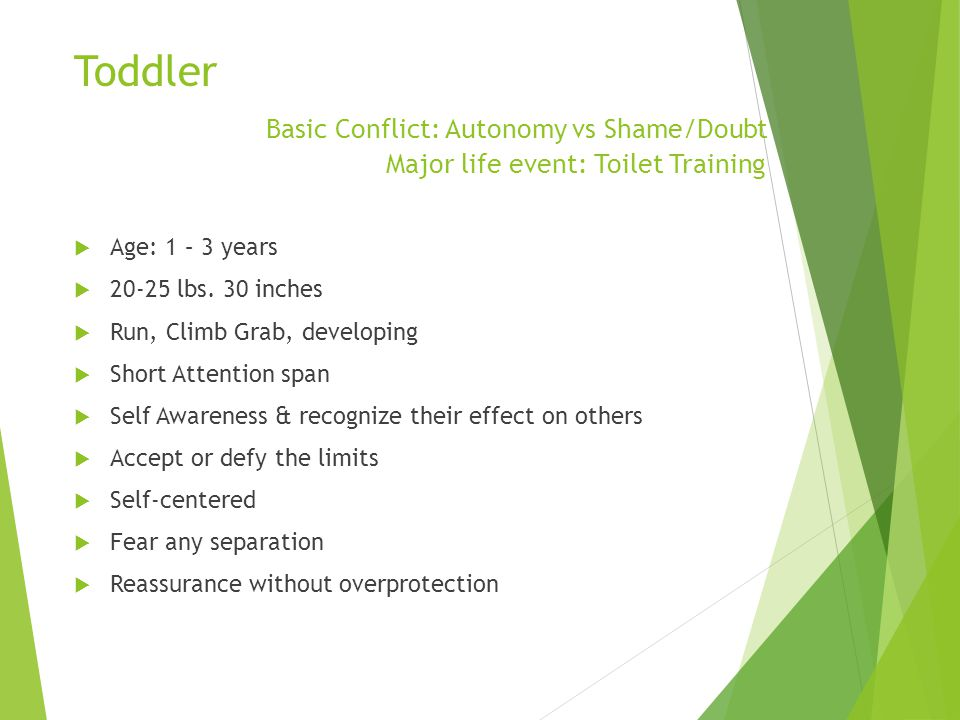 Toddler. Basic Conflict: Autonomy vs Shame/Doubt