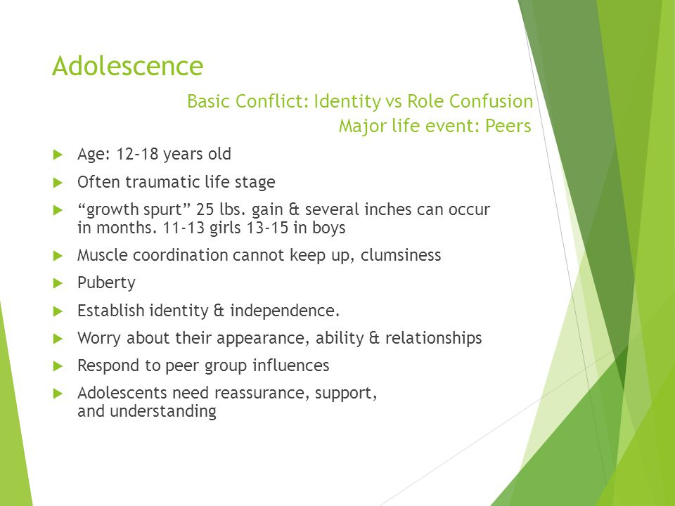 Adolescence. Basic Conflict: Identity vs Role Confusion