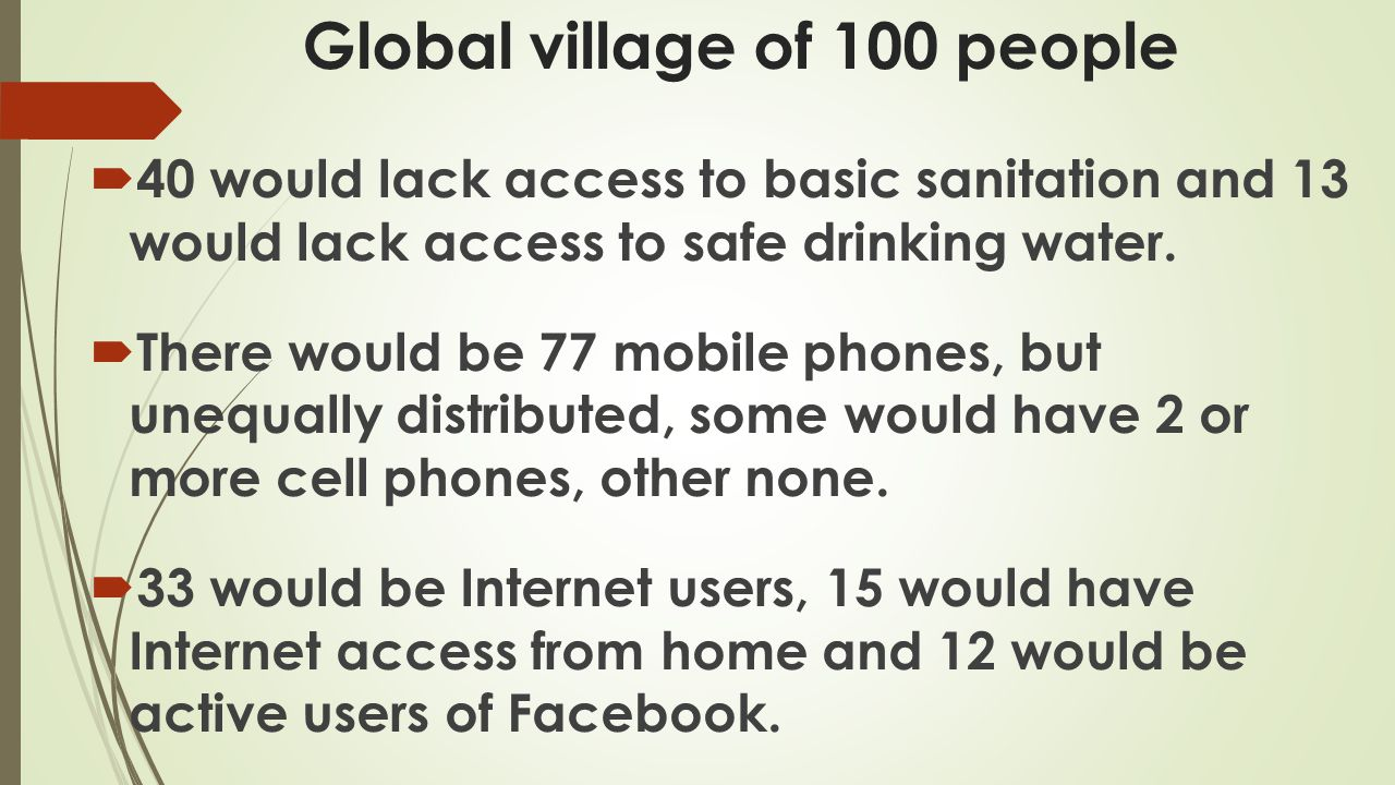 Global village of 100 people