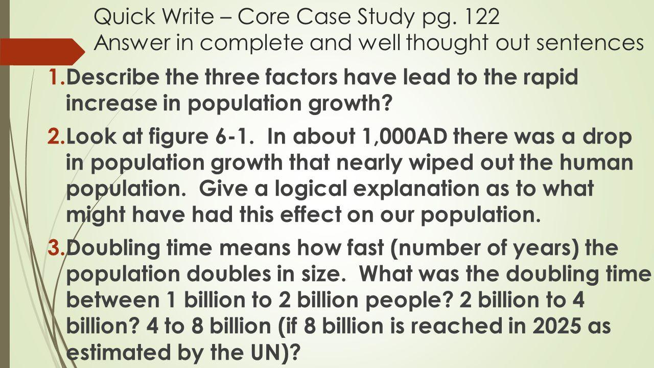 Quick Write – Core Case Study pg
