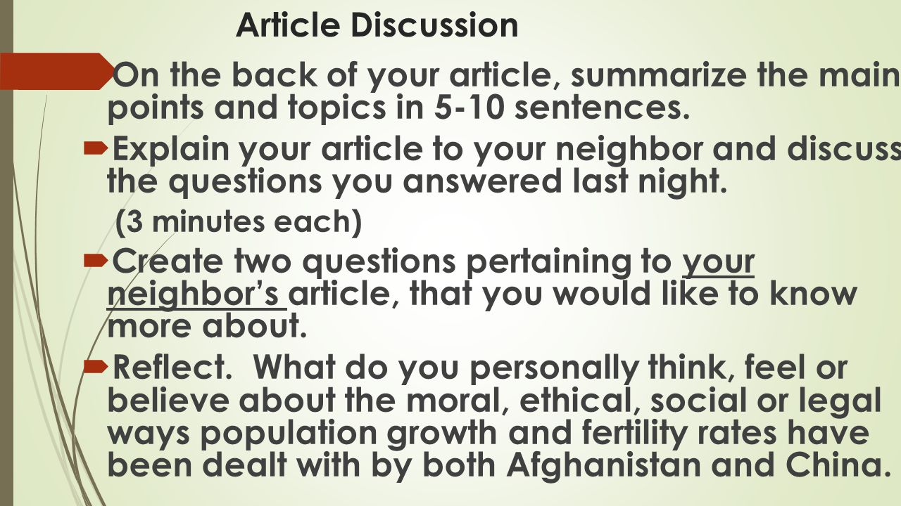 Article Discussion On the back of your article, summarize the main points and topics in 5-10 sentences.