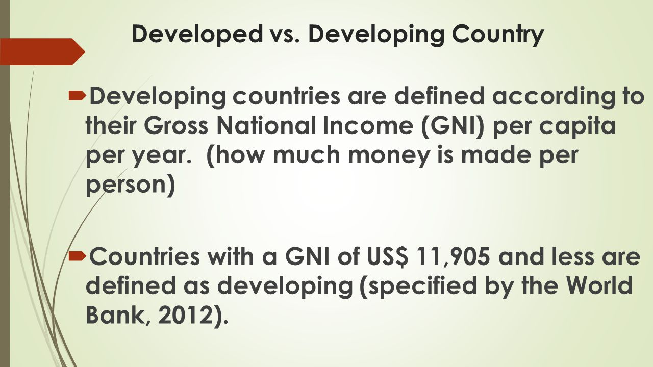 Developed vs. Developing Country