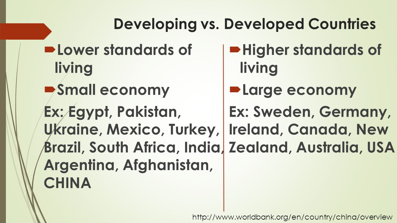 Developing vs. Developed Countries