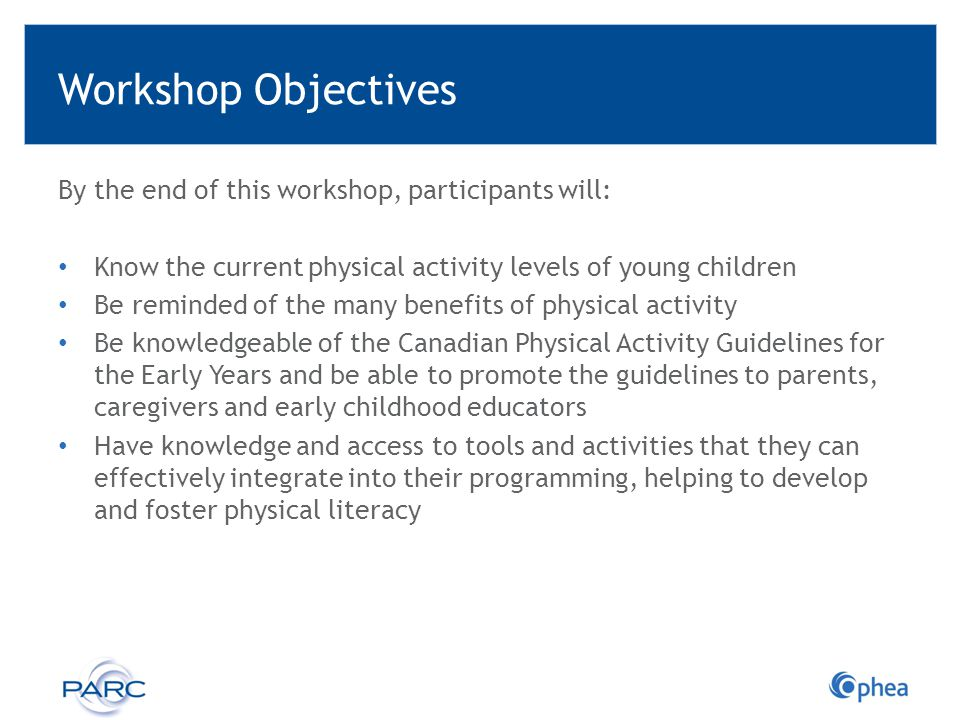 Workshop Objectives By the end of this workshop, participants will: