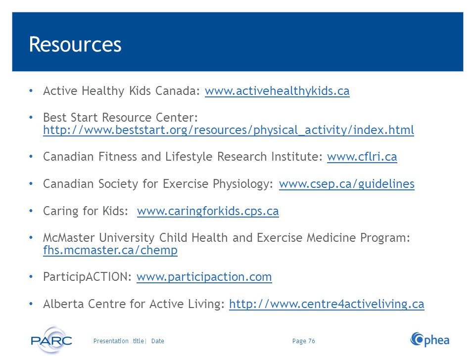 Resources Active Healthy Kids Canada: www.activehealthykids.ca