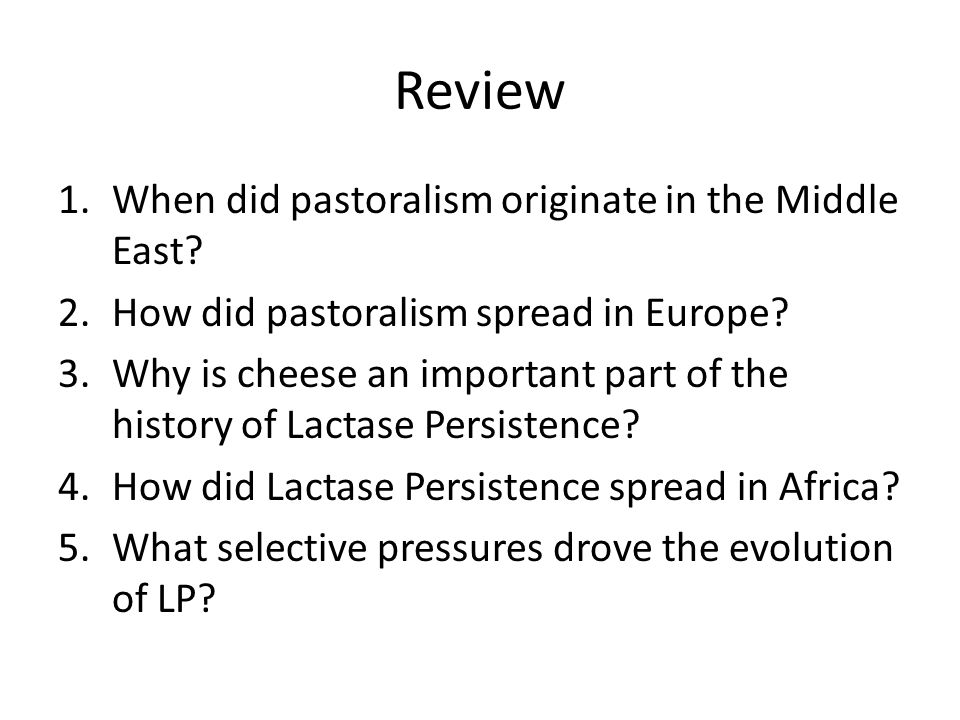 Review When did pastoralism originate in the Middle East