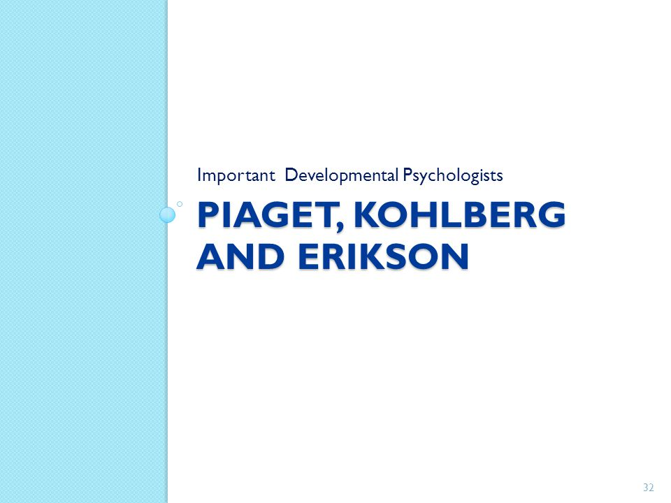 Piaget, Kohlberg and Erikson
