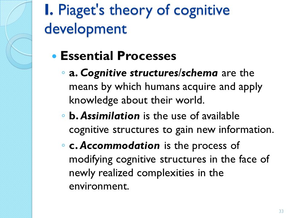 I. Piaget s theory of cognitive development