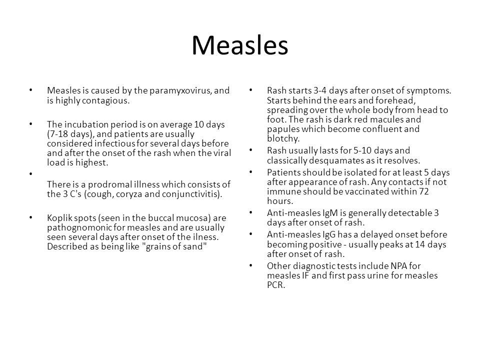 Measles Measles is caused by the paramyxovirus, and is highly contagious.