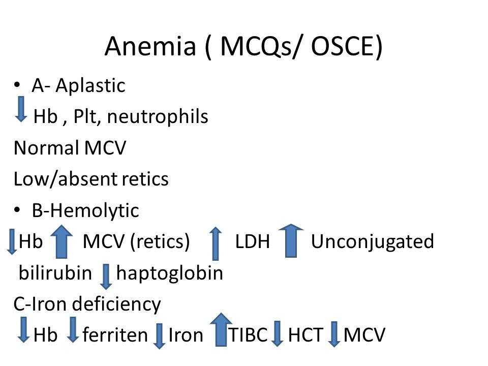 Anemia ( MCQs/ OSCE) A- Aplastic Hb , Plt, neutrophils Normal MCV