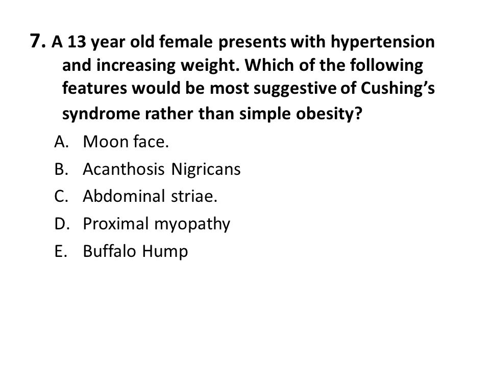 7. A 13 year old female presents with hypertension and increasing weight. Which of the following features would be most suggestive of Cushing's syndrome rather than simple obesity