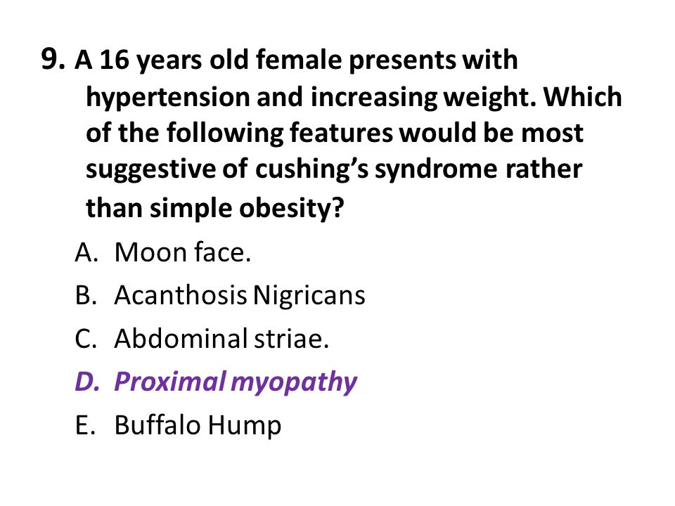 9. A 16 years old female presents with hypertension and increasing weight. Which of the following features would be most suggestive of cushing's syndrome rather than simple obesity