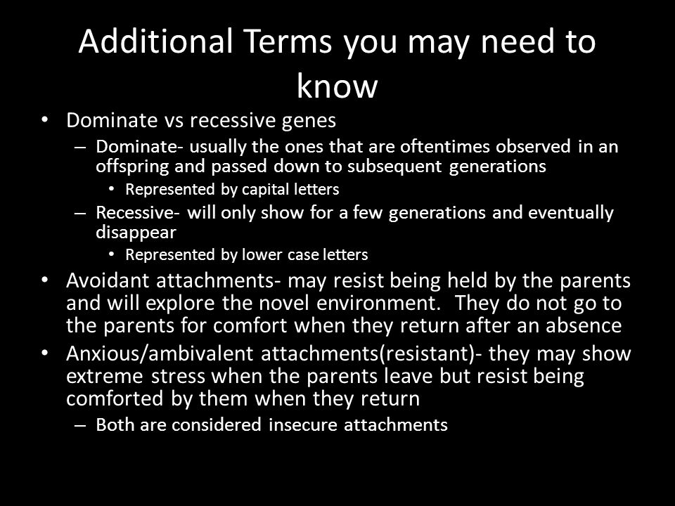Additional Terms you may need to know