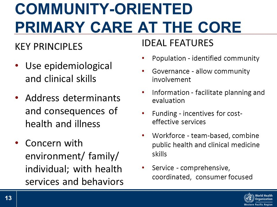 COMMUNITY-ORIENTED PRIMARY CARE AT THE CORE