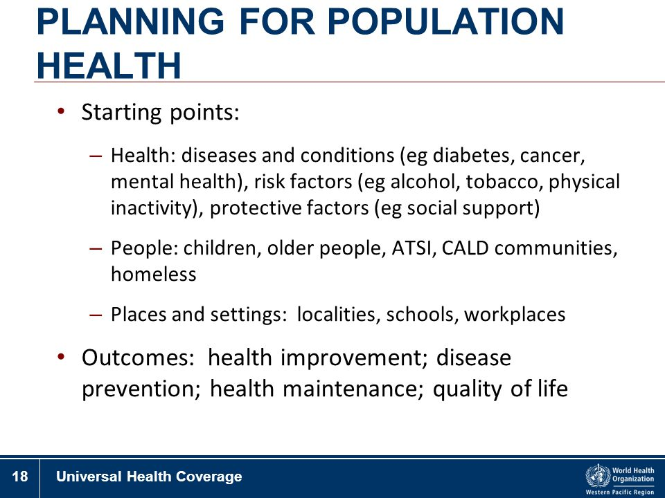 PLANNING FOR POPULATION HEALTH