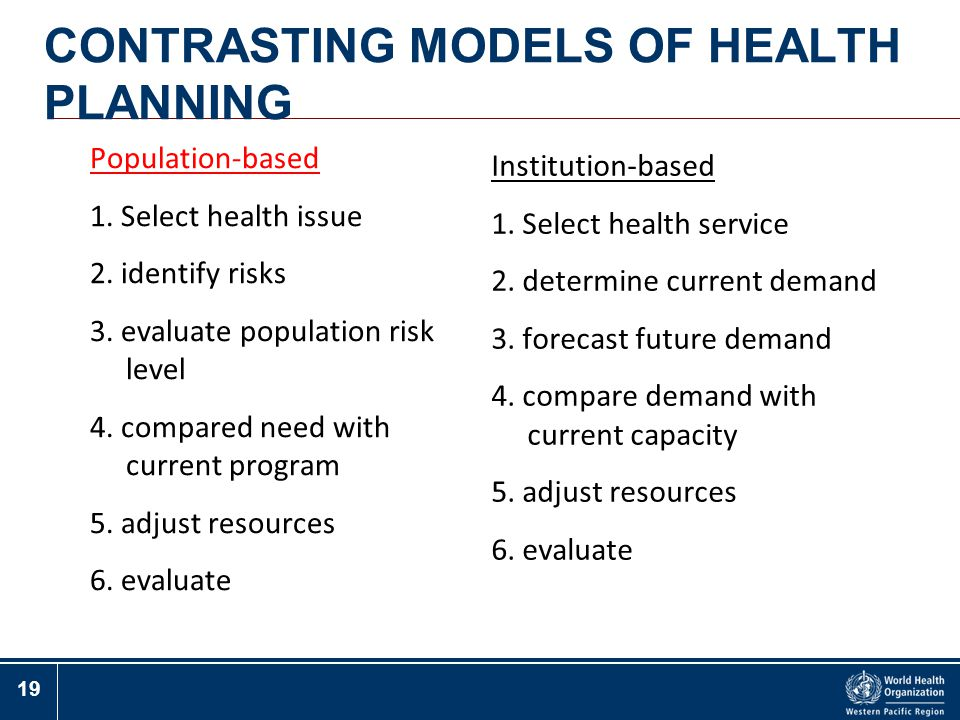 CONTRASTING MODELS OF HEALTH PLANNING
