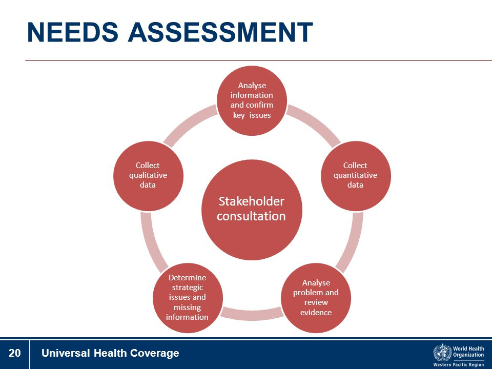 NEEDS ASSESSMENT Stakeholder consultation