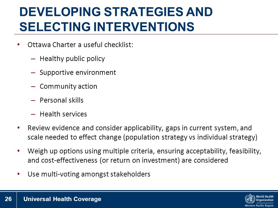 DEVELOPING STRATEGIES AND SELECTING INTERVENTIONS