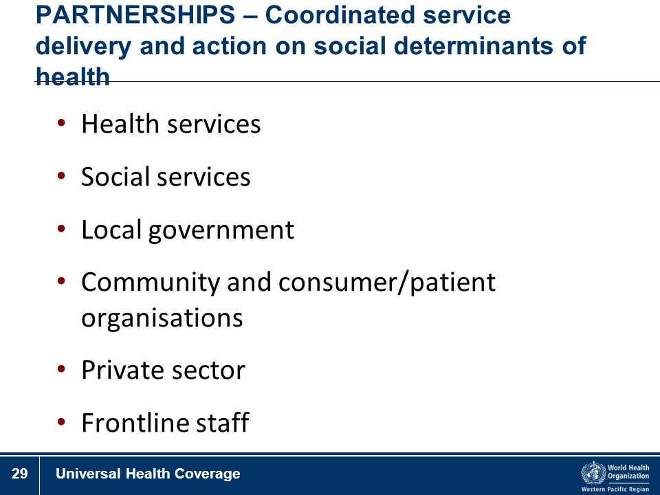 Community and consumer/patient organisations