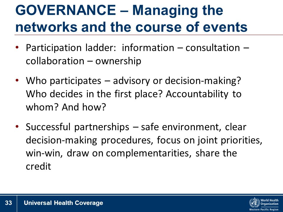 GOVERNANCE – Managing the networks and the course of events