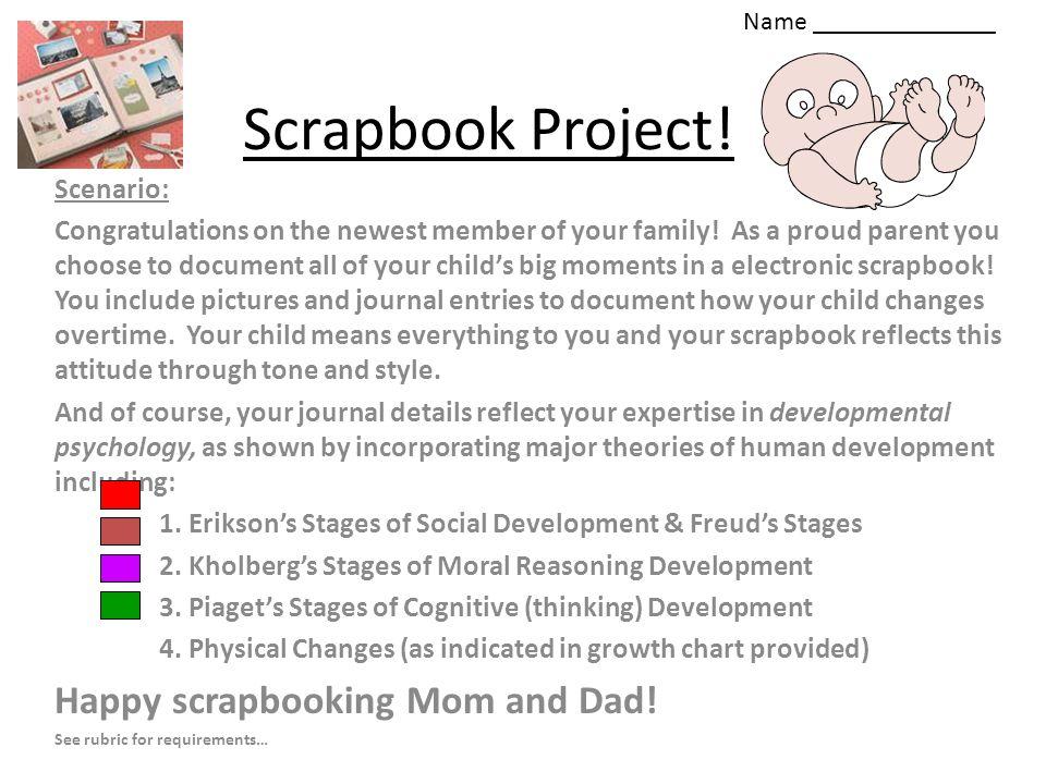 Scrapbook Project! Happy scrapbooking Mom and Dad! Scenario: