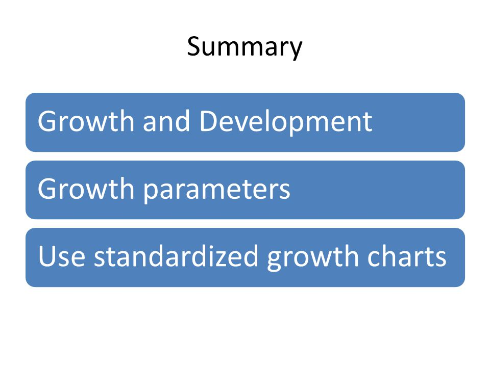 Summary Growth and Development Growth parameters