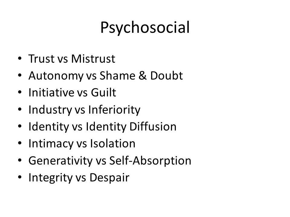 Psychosocial Trust vs Mistrust Autonomy vs Shame & Doubt