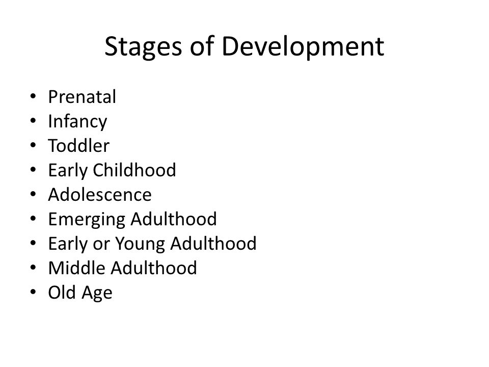Stages of Development Prenatal Infancy Toddler Early Childhood