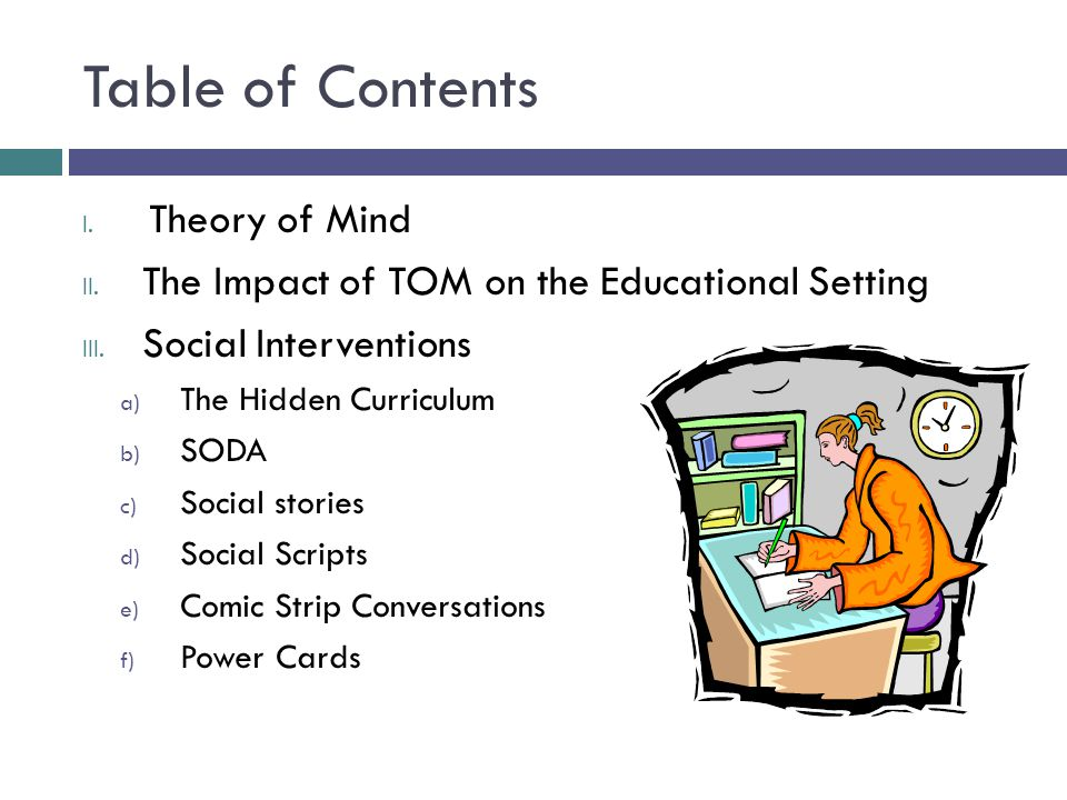 Table of Contents Theory of Mind