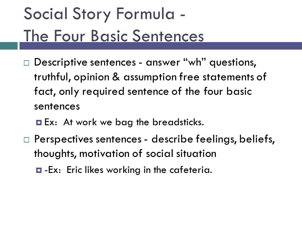 Social Story Formula - The Four Basic Sentences