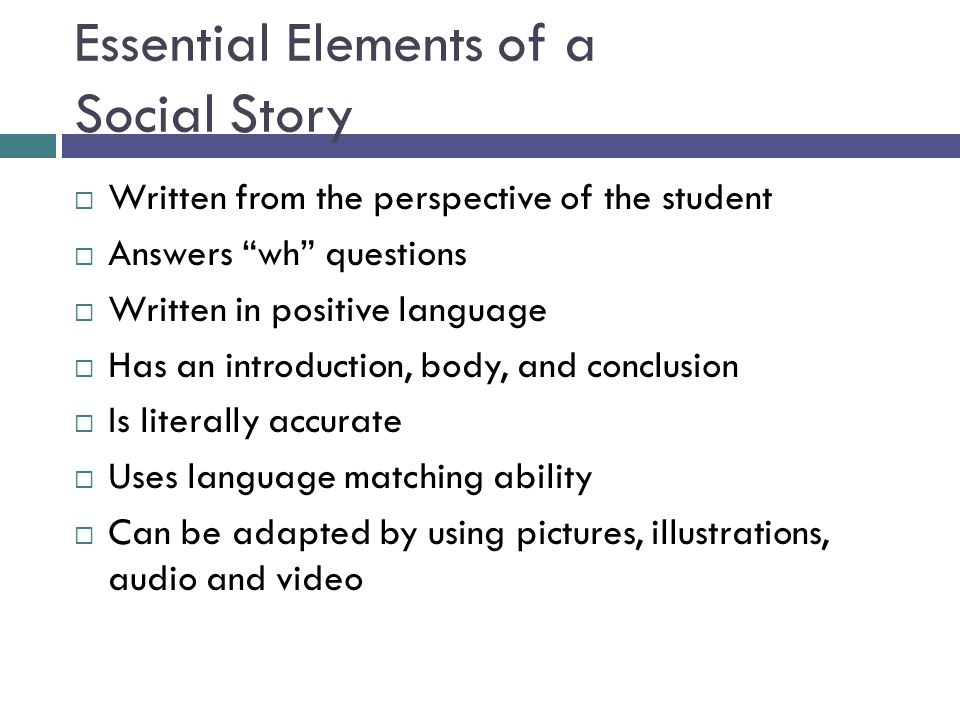 Essential Elements of a Social Story
