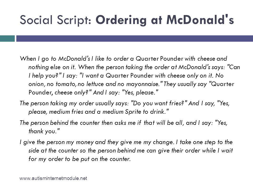 Social Script: Ordering at McDonald s