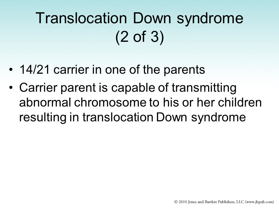 Translocation Down syndrome (2 of 3)