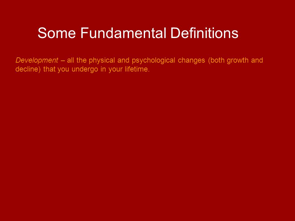 Some Fundamental Definitions