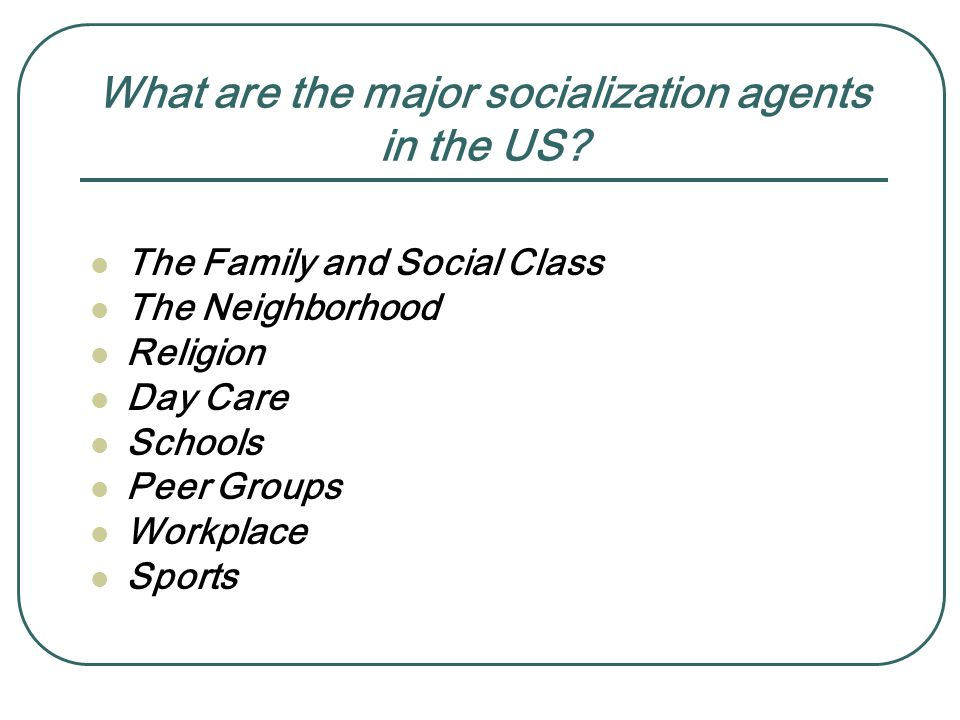 What are the major socialization agents in the US